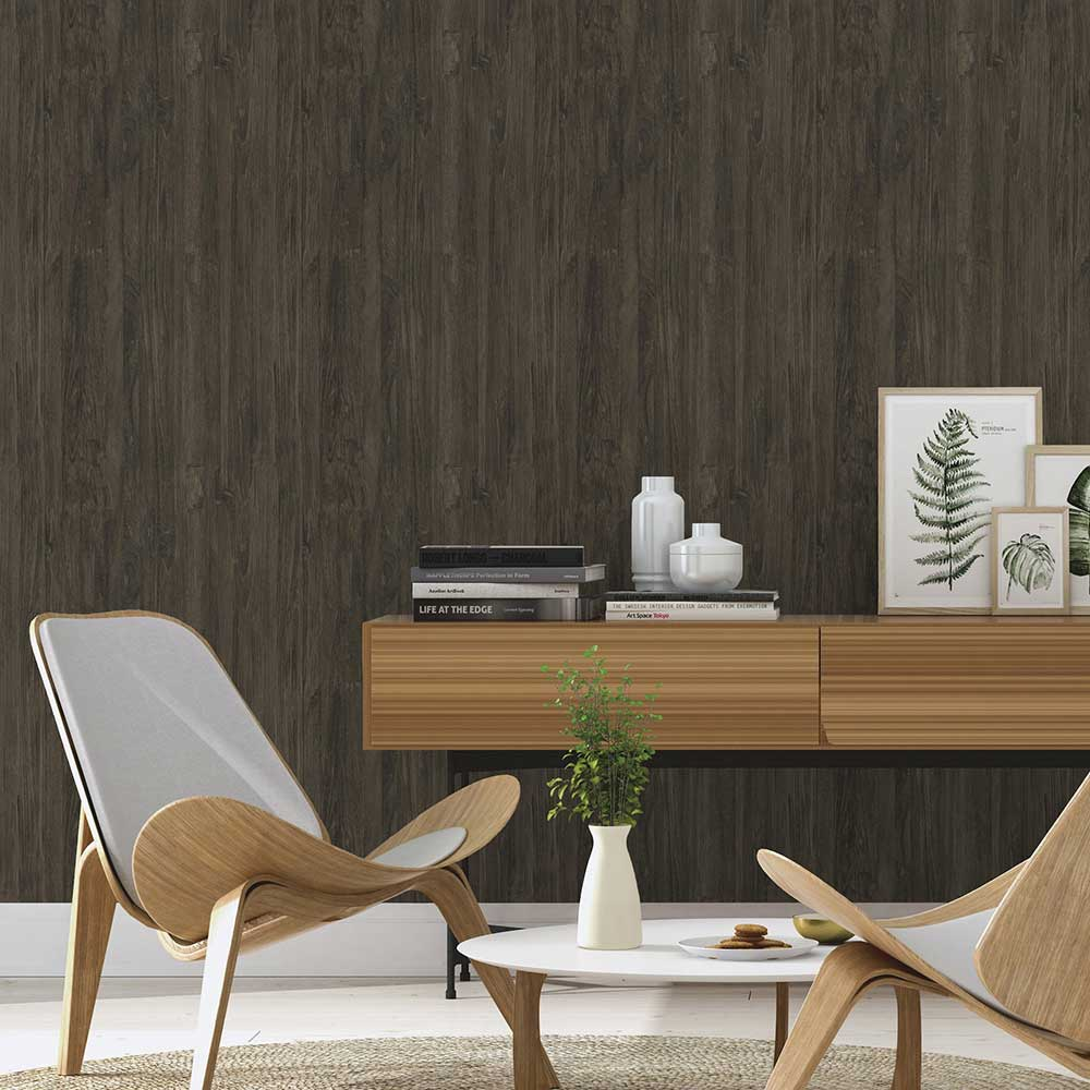 Albany Wooden Effect Charcoal Brown Wallpaper - Product code: 528442