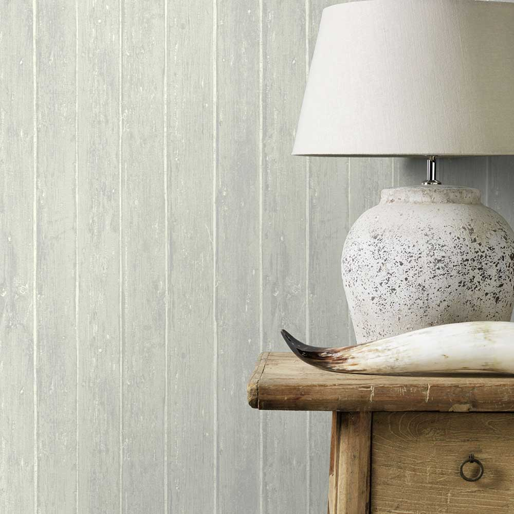 Distressed Decking Wallpaper - Silver Grey - by Albany