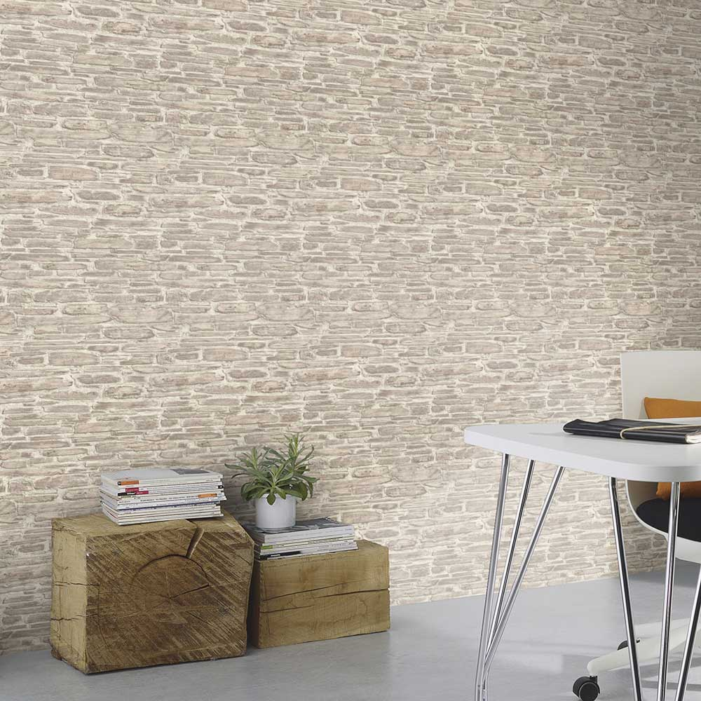 Brick Effect Wallpaper - Grey - by Albany