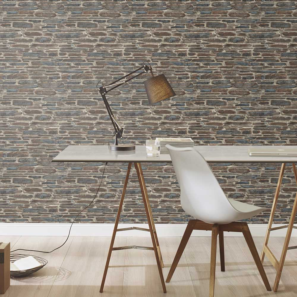 Brick Effect Wallpaper - Brown / Blue - by Albany