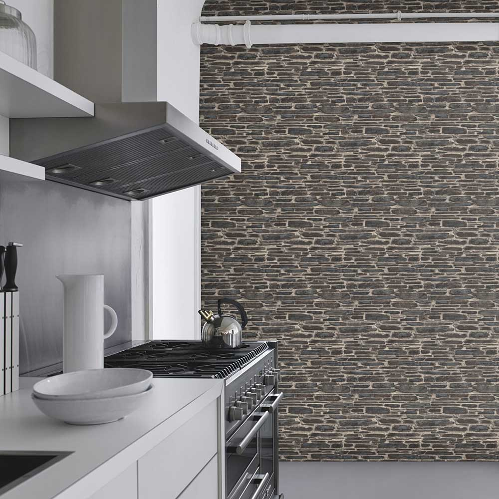 Brick Effect Wallpaper - Charcoal Grey - by Albany