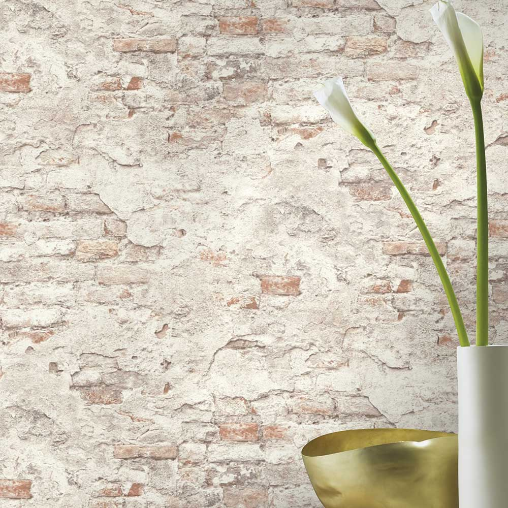 Rustic Wall Wallpaper - White - by Albany