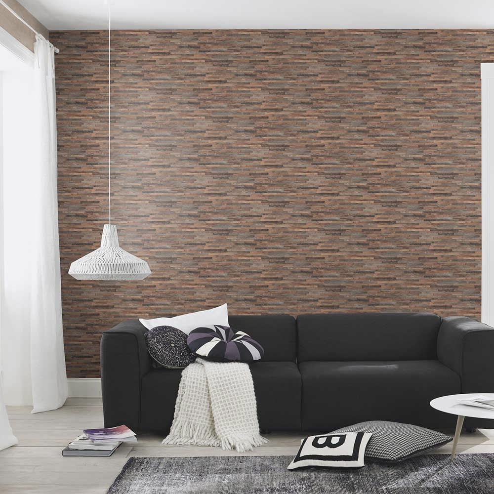 Fine Wood Effect Wallpaper - Brown - by Albany
