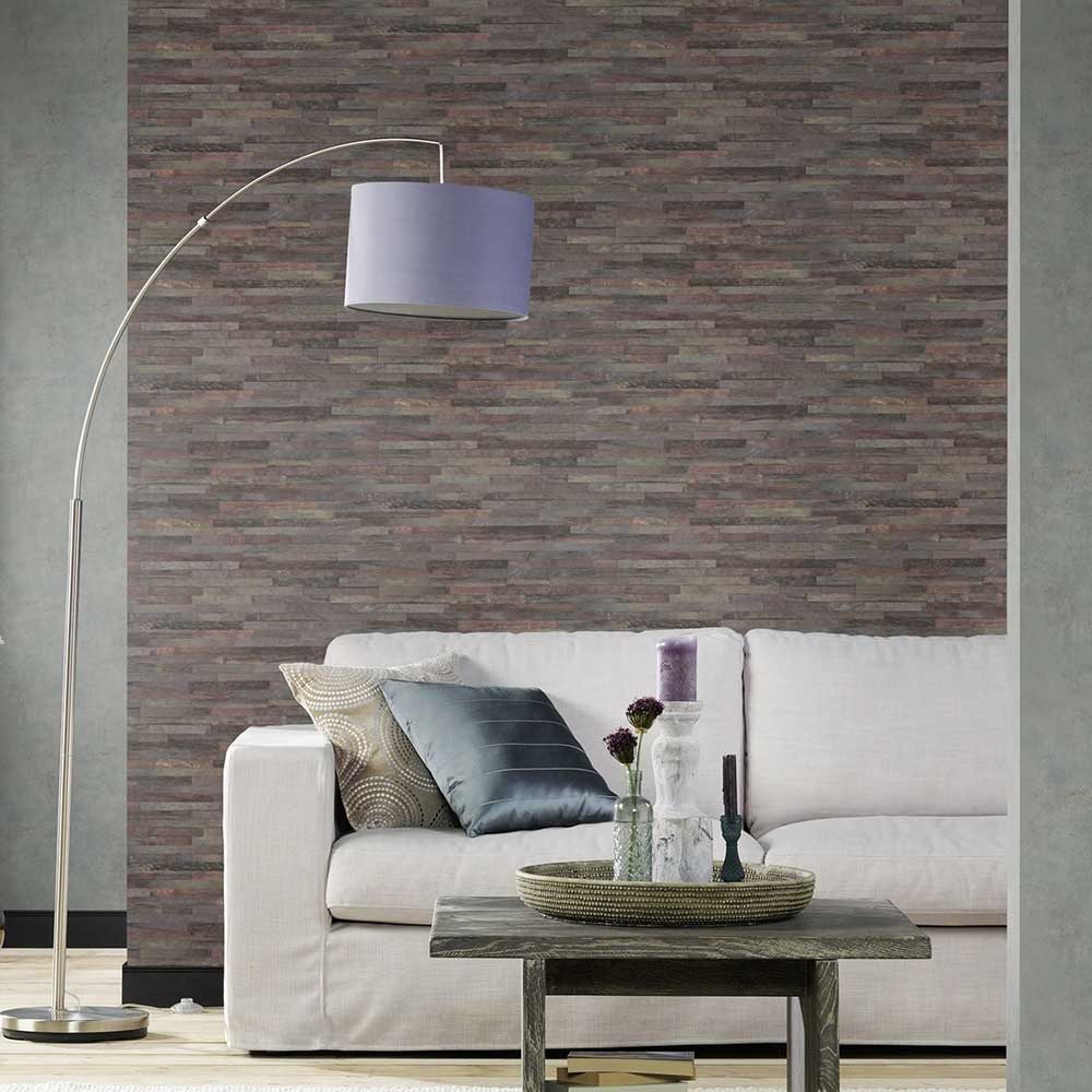 Fine Wood Effect Wallpaper - Charcoal Grey - by Albany
