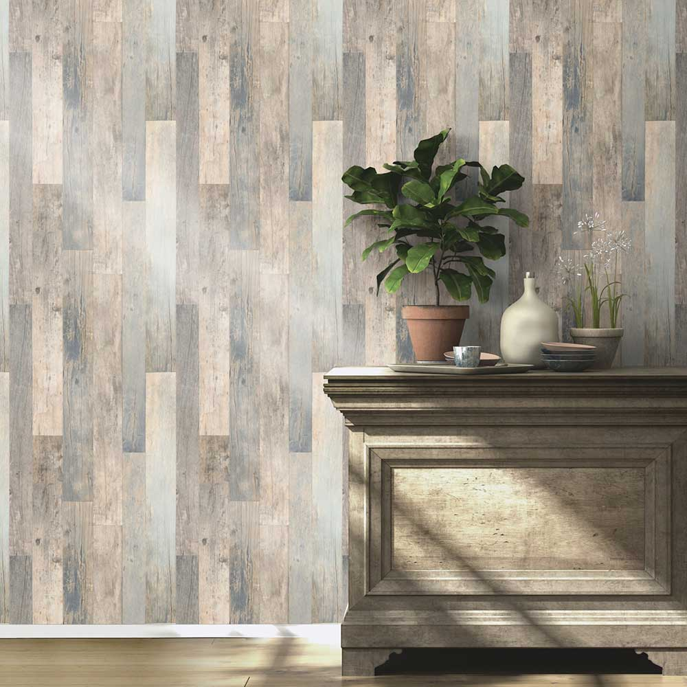 Country Wood Wallpaper - Blue  / Grey  - by Albany