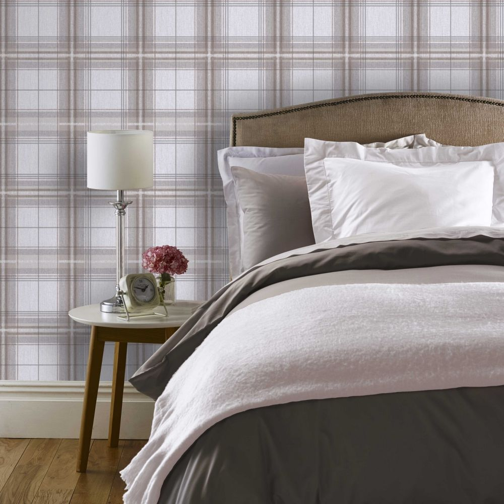 Arthouse Woven Check Neutral / Grey Wallpaper - Product code: 942300