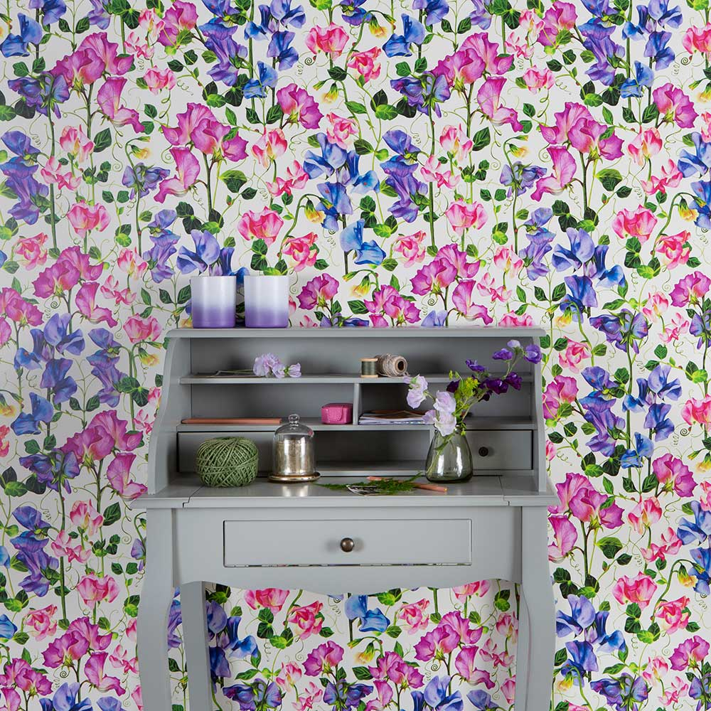 Isabelle Boxall Sweet Pea Pink and Blue Wallpaper - Product code: IB5006