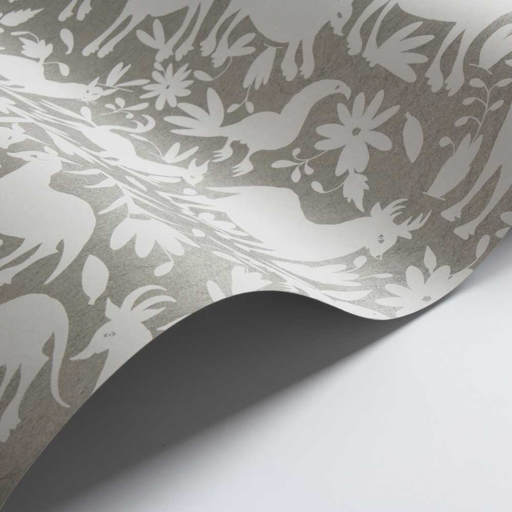 Otomi Wallpaper - Silver - by Andrew Martin