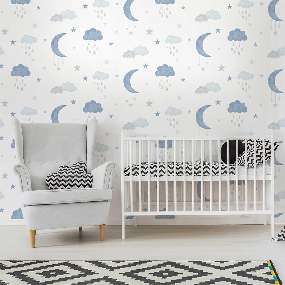 Sweet Dreams Wallpaper - Blue - by Grandeco