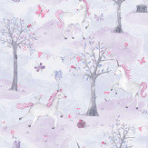 Grandeco Unicorn Wood Pink / Purple Wallpaper - Product code: LO2101
