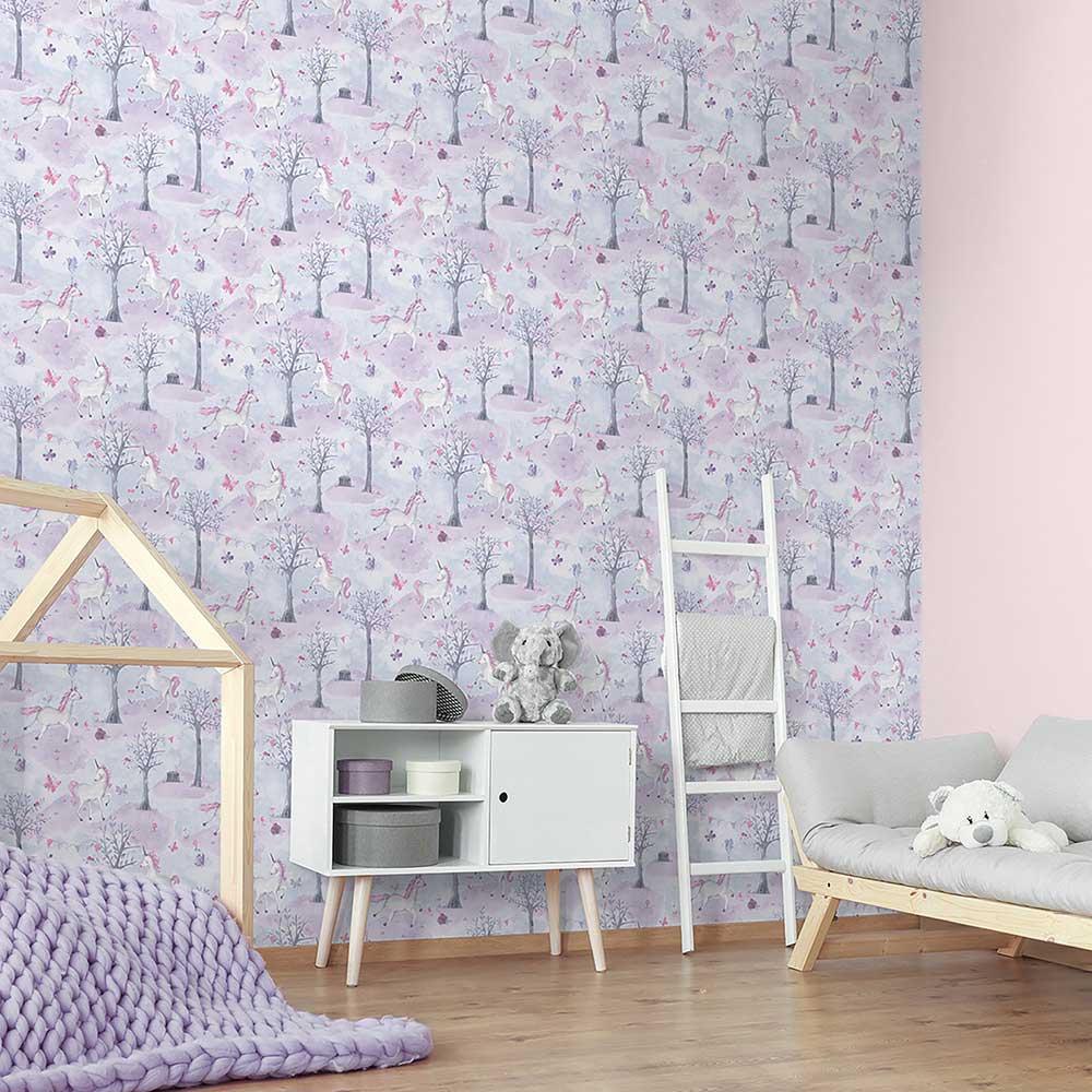 Grandeco Unicorn Wood Pink / Purple Wallpaper - Product code: LO2101