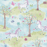 Grandeco Unicorn Wood Blue / Green Wallpaper - Product code: LO2102