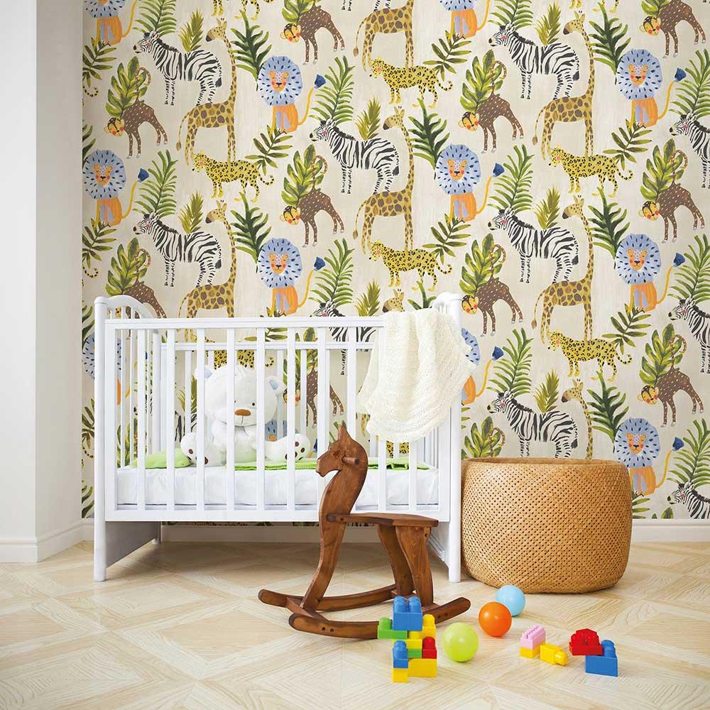 Jungle Animals Wallpaper - Multi-coloured - by Grandeco
