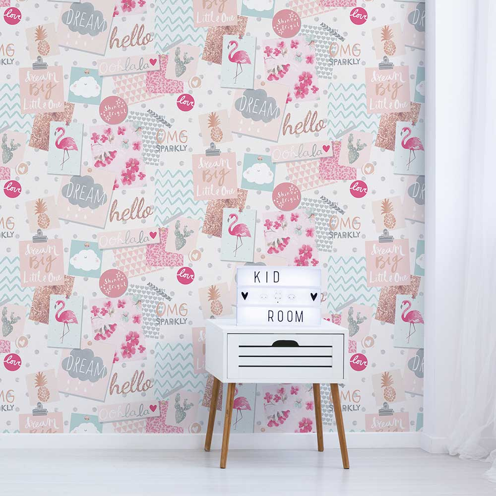 Grandeco Dream Pinboard Pink Wallpaper - Product code: LO2401