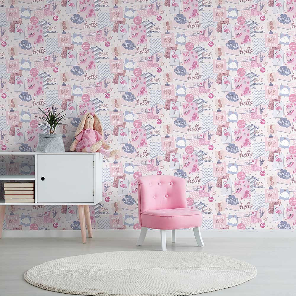 Grandeco Dream Pinboard Pink / Purple Wallpaper - Product code: LO2402