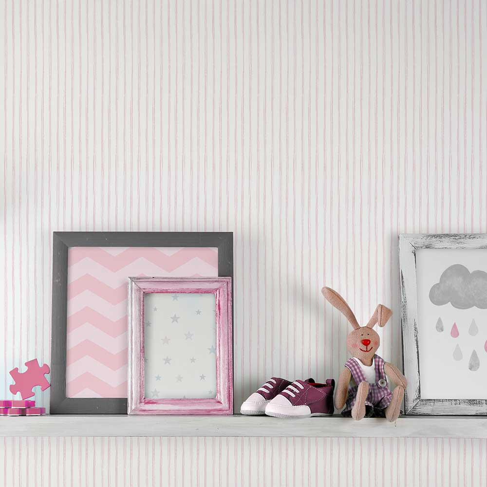 Grandeco Stripes Pink Wallpaper - Product code: LO3002