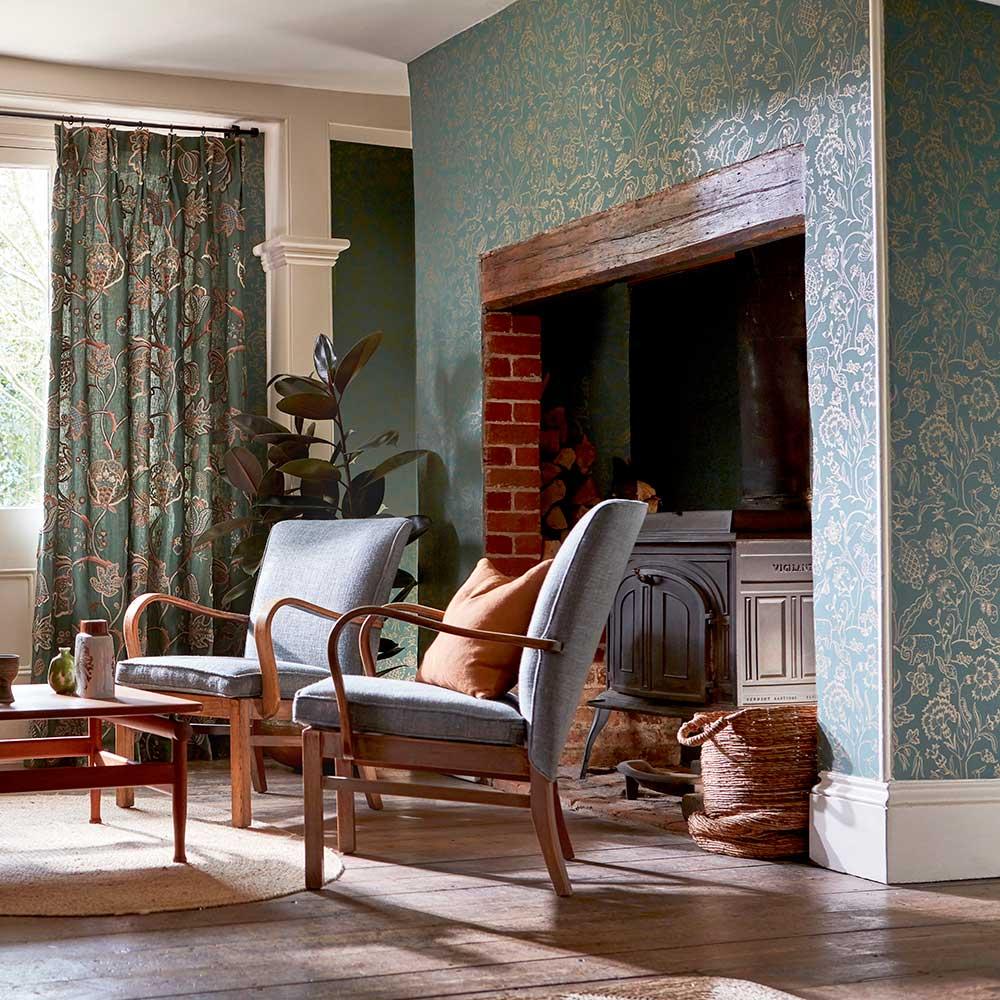 Middlemore Wallpaper - Moss Gold - by Morris