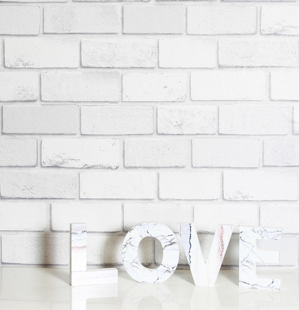 Arthouse Diamond White Brick Wallpaper - Product code: 902009