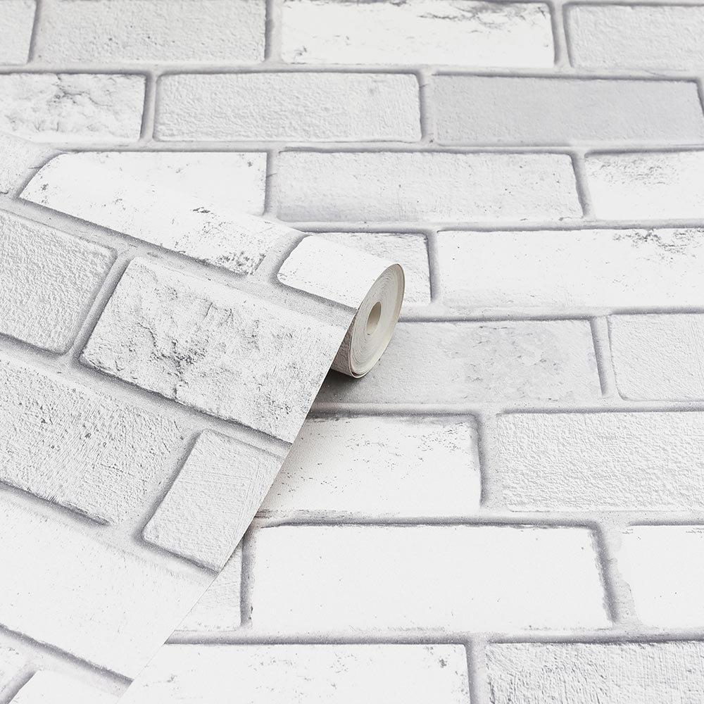 Diamond White Brick Wallpaper - by Arthouse