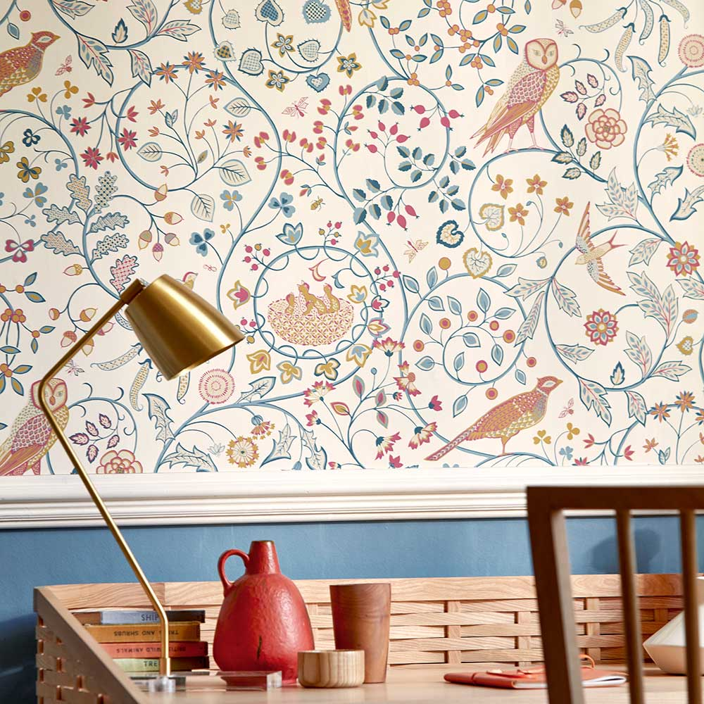 Newill Wallpaper - Indigo Saffron - by Morris