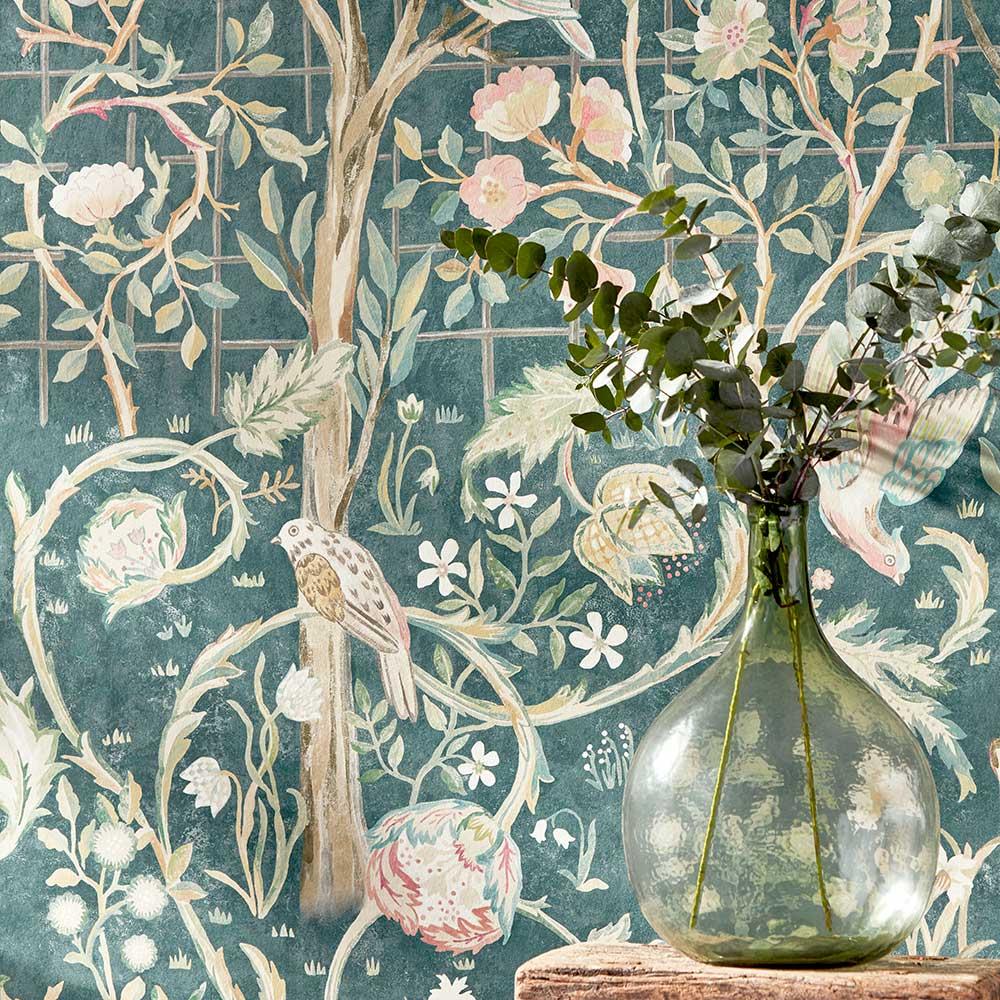 Melsetter Mural - Indigo Rose - by Morris