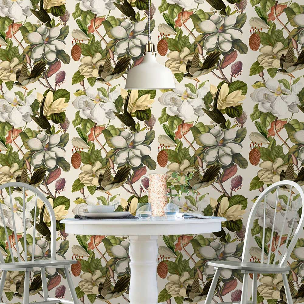 Magnolia Mural - Cream / Green - by Mind the Gap