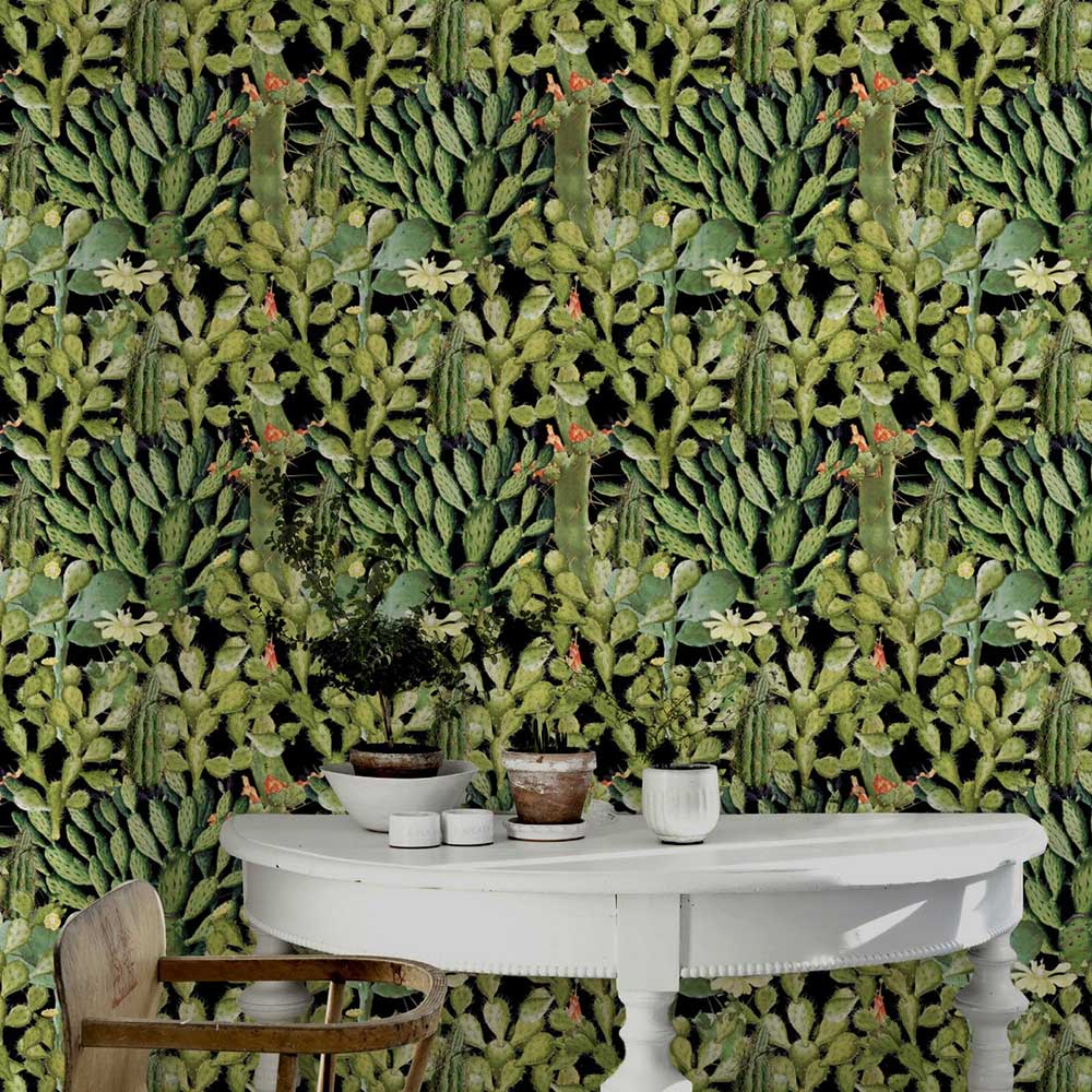 Mind the Gap Opuntia Green / black Mural - Product code: WP20165