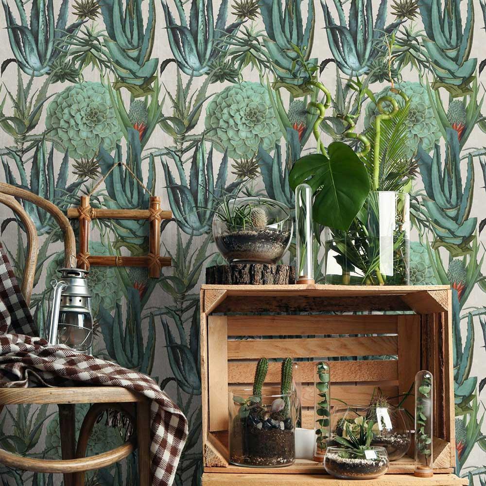Mind the Gap Succulentus Blue / Green Mural - Product code: WP20168