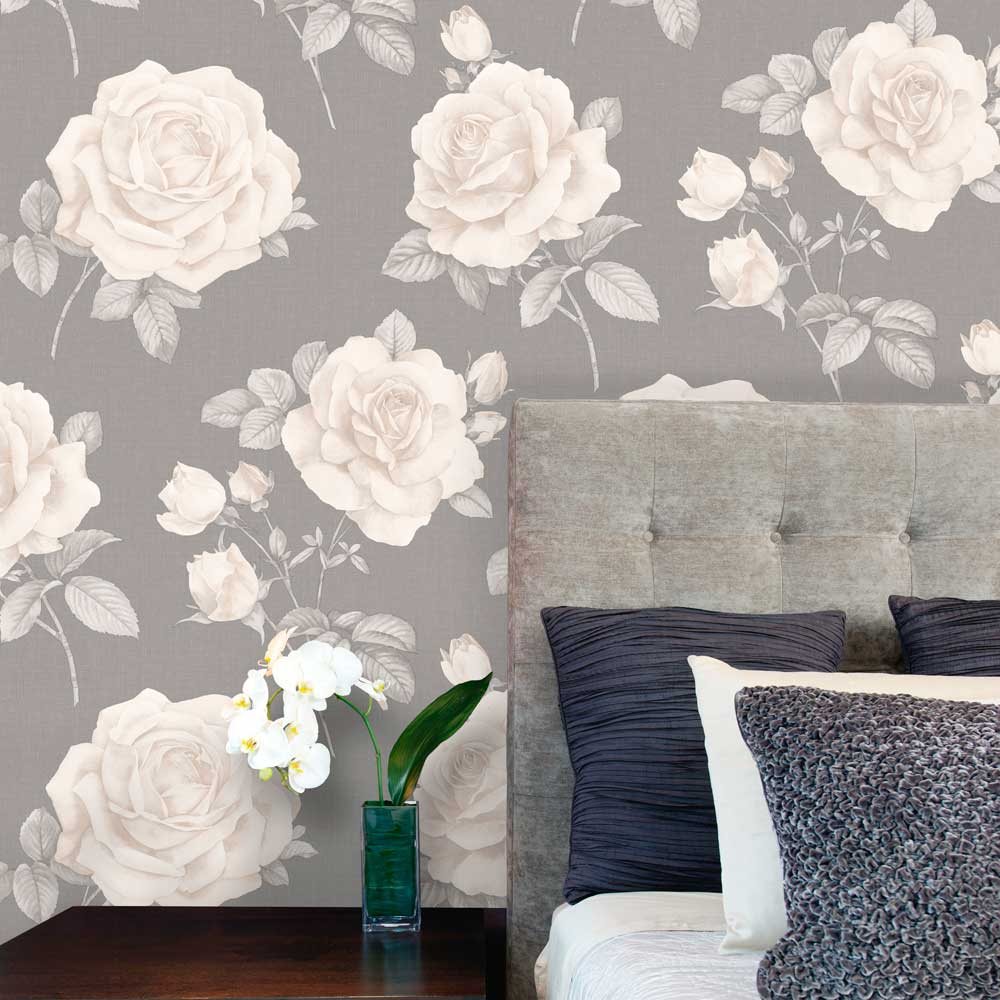 Rosa Wallpaper - Charcoal - by Albany