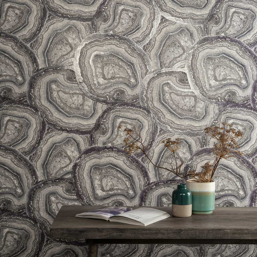 Agate Wallpaper - Amethyst / Grey - by Arthouse
