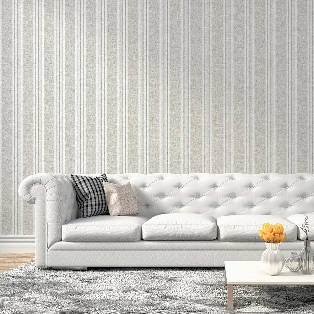 Arthouse Ticking Stripe Grey Wallpaper - Product code: 905000