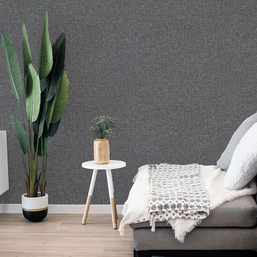 Linen  Wallpaper - Charcoal - by Arthouse
