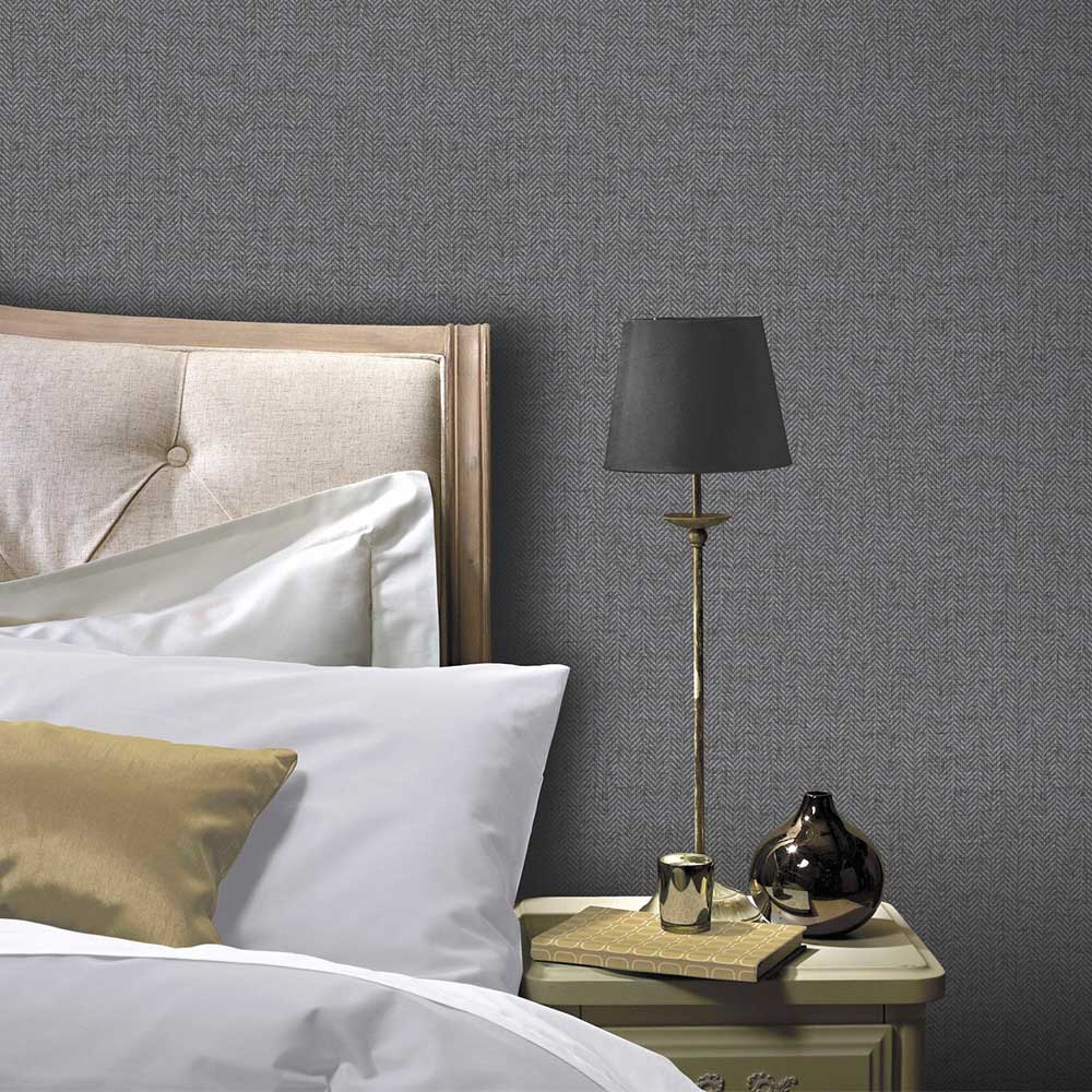 Arthouse Herringbone Tweed Charcoal Wallpaper - Product code: 906701