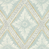 Sandberg Ludvig Turquoise / Gold Wallpaper - Product code: 493-27
