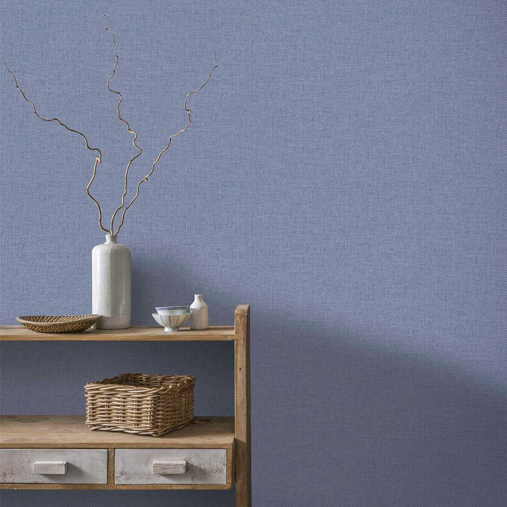 Arthouse Herringbone Tweed Blue Wallpaper - Product code: 942407