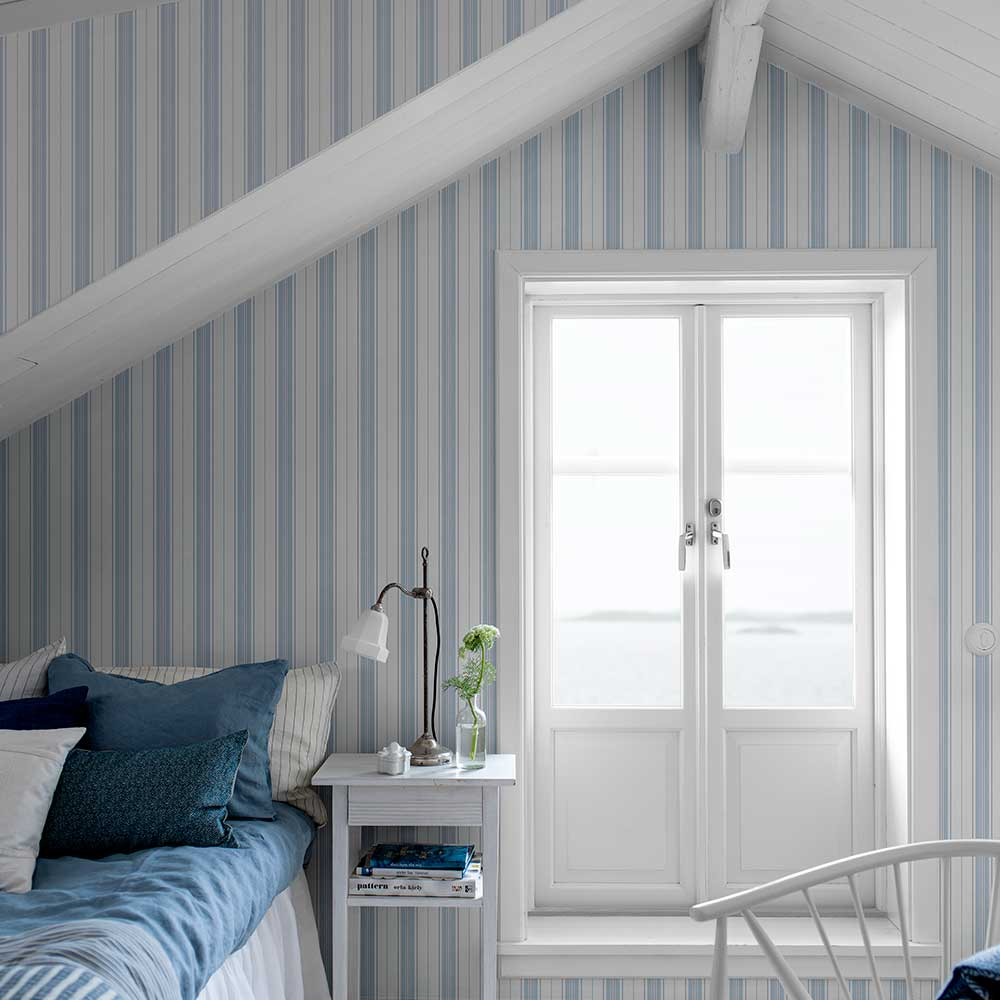 Boråstapeter Hamnskar Stripe Blue Wallpaper - Product code: 8875