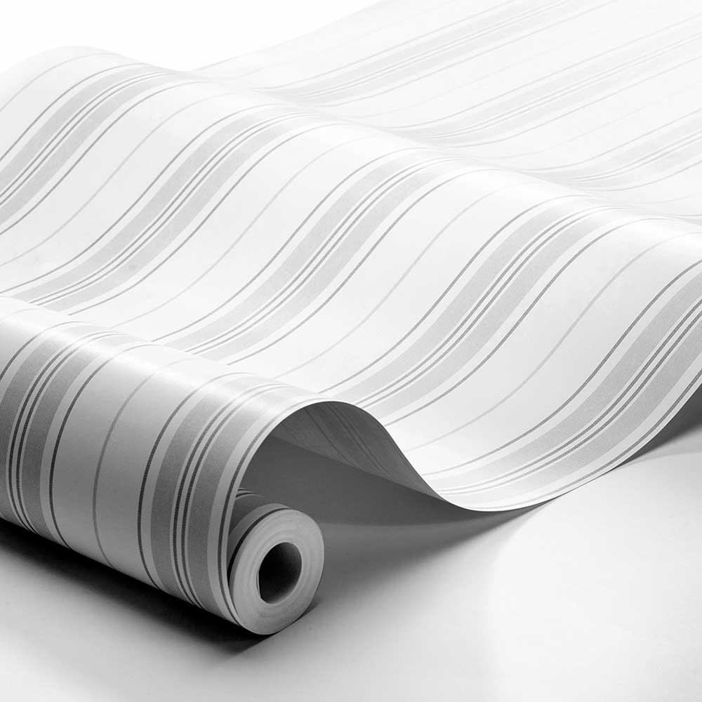 Hamnskar Stripe Wallpaper - Grey - by Boråstapeter