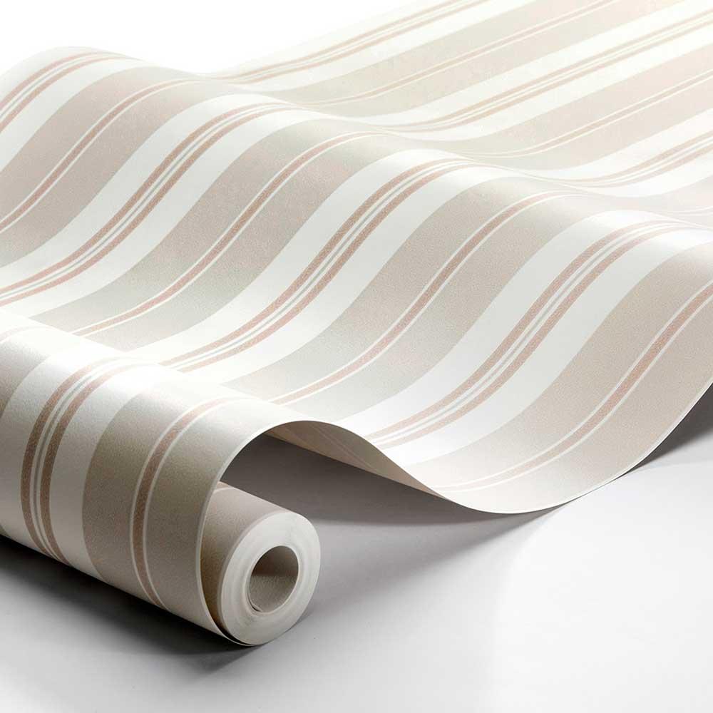 Sandhamn Stripe Wallpaper - Pink / Beige - by Boråstapeter