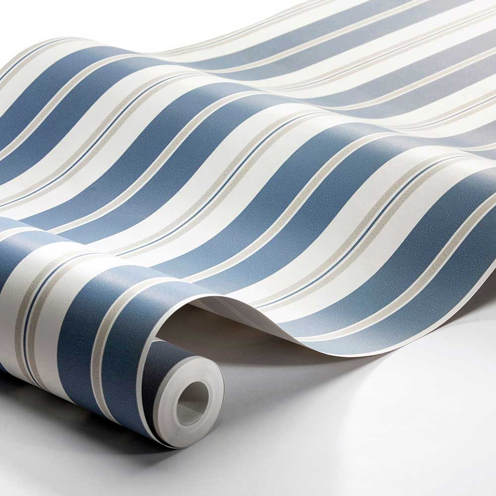 Boråstapeter Sandhamn Stripe Blue / Beige Wallpaper - Product code: 8885