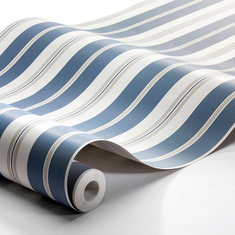 Sandhamn Stripe Wallpaper - Blue / Beige - by Boråstapeter