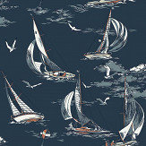 Boråstapeter Sailboats Dark Blue Wallpaper - Product code: 8853
