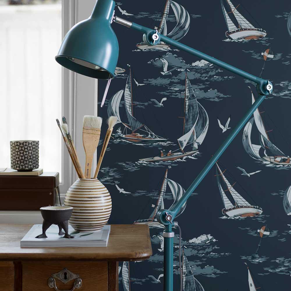 Boråstapeter Sailboats Dark Blue Wallpaper - Product code: 8853