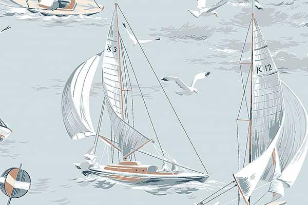 Boråstapeter Sailboats Light Blue Wallpaper - Product code: 8854
