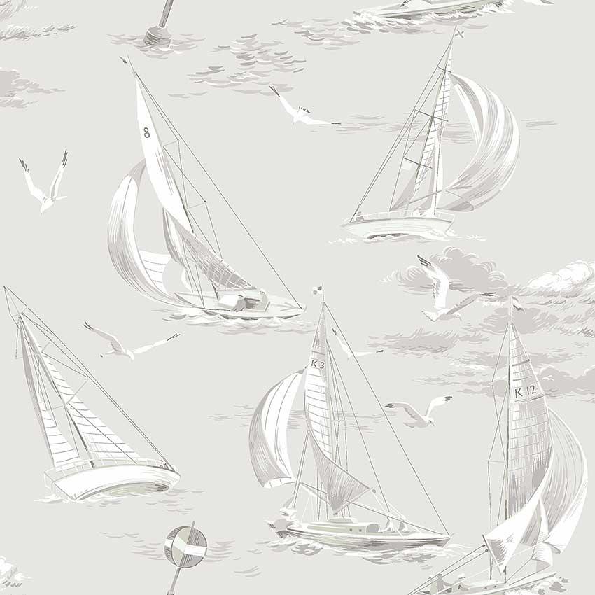 Boråstapeter Sailboats Grey Wallpaper - Product code: 8855