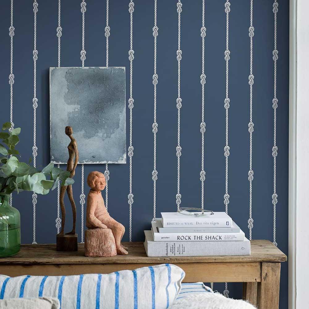 Knot Stripe Wallpaper - Dark Blue - by Boråstapeter