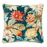 Sanderson Dahlia and Rosehip Velvet Cushion Teal/ Russett - Product code: DCUB257028C