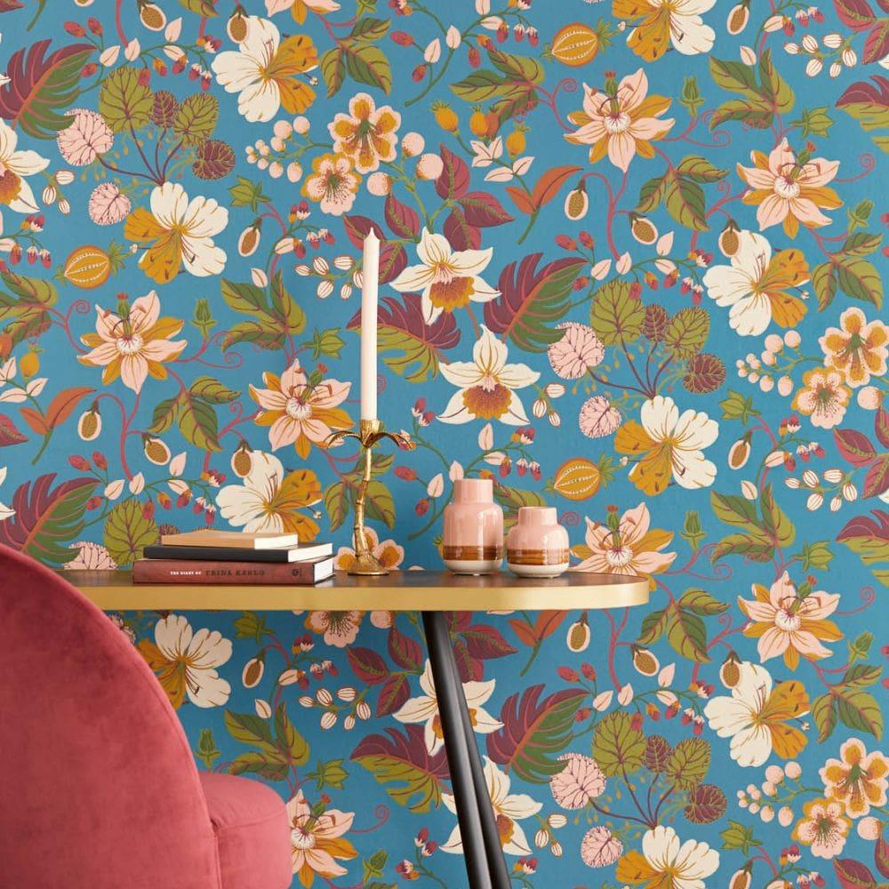 Carmen Trail Wallpaper - Blue - by Eijffinger