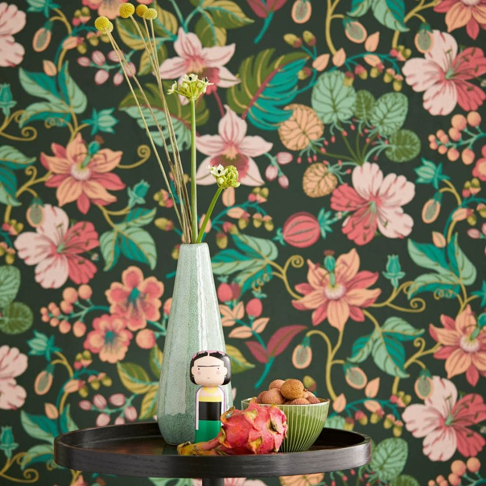 Carmen Trail Wallpaper - Dark Green - by Eijffinger