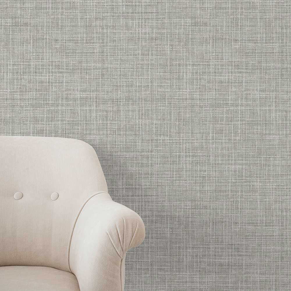 Linen Wallpaper - Grey - by A Street Prints