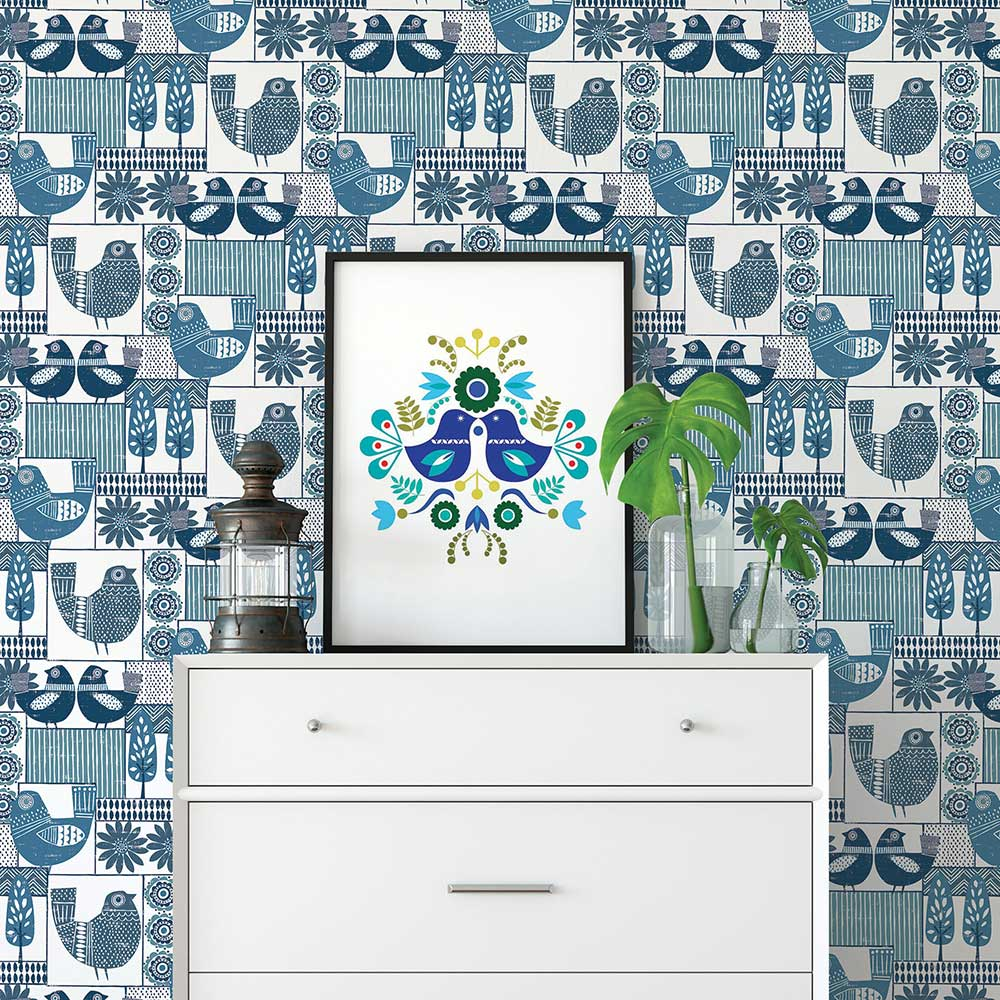 A Street Prints Hennika Blue Wallpaper - Product code: FD25113